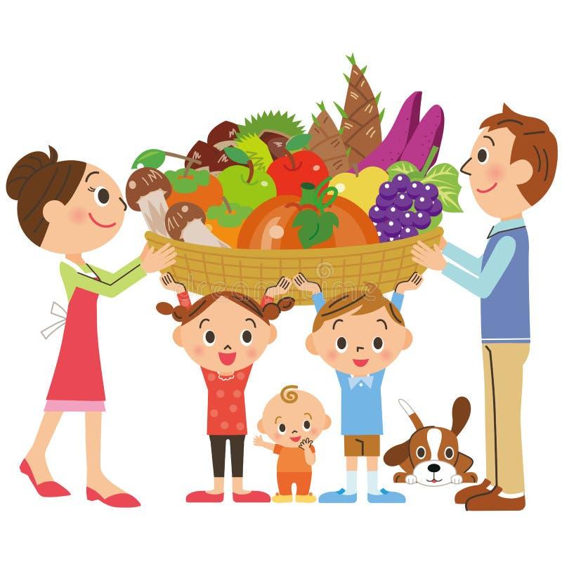 Famiglia che ha molti ingredienti illustrazione di stock