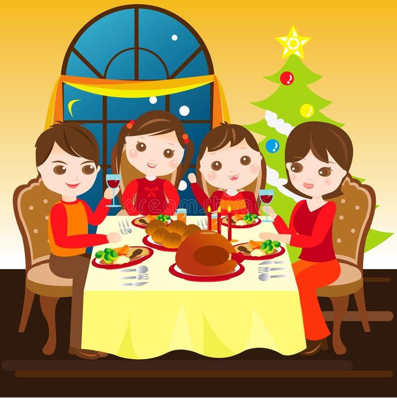 Famiglia che ha pranzo di natale insieme royalty illustrazione gratis