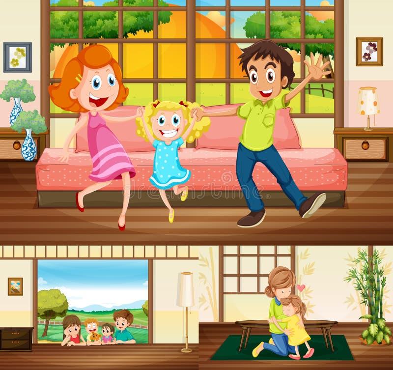 Famiglia che resta nella casa royalty illustrazione gratis