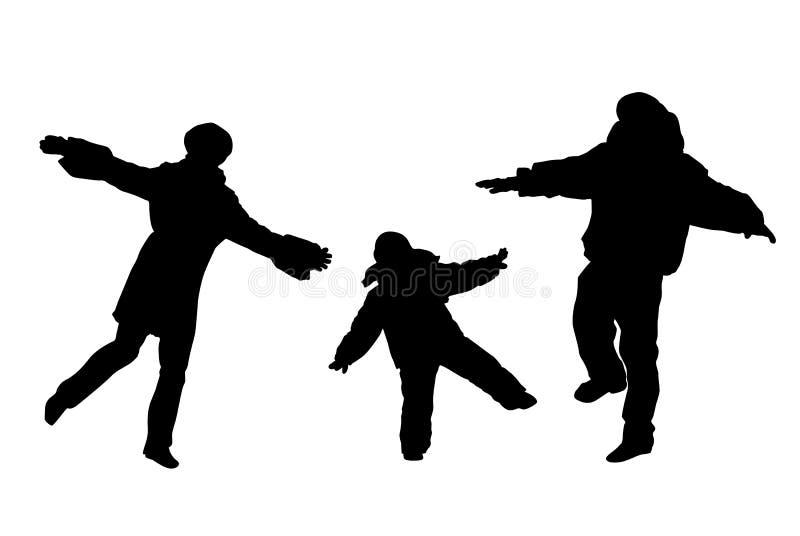 Famiglia che rimane su un piedino illustrazione vettoriale