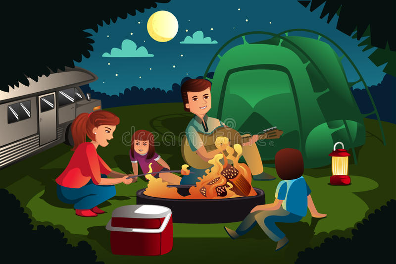 Famiglia che si accampa nella foresta royalty illustrazione gratis