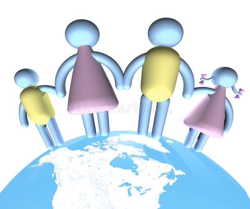 Famiglia che si leva in piedi su The Globe illustrazione vettoriale