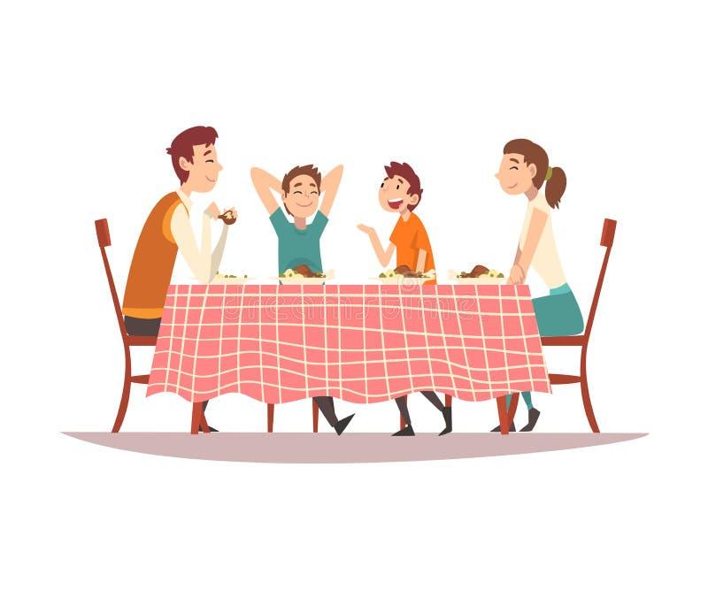 Famiglia che si siede al tavolo da cucina con la tovaglia a quadretti rossa, i genitori felici ed i bambini mangianti e parlanti  illustrazione di stock