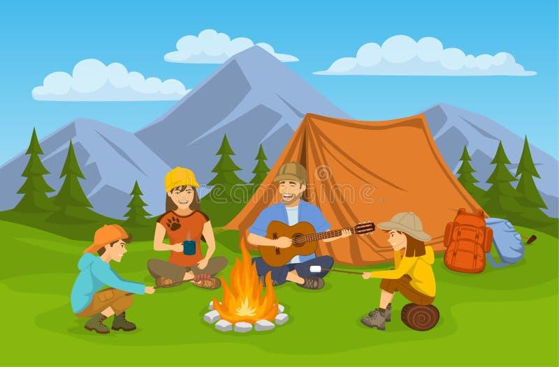 Famiglia che si siede intorno al fuoco di accampamento ed alla tenda campeggio facendo un'escursione viaggio di avventura illustrazione vettoriale