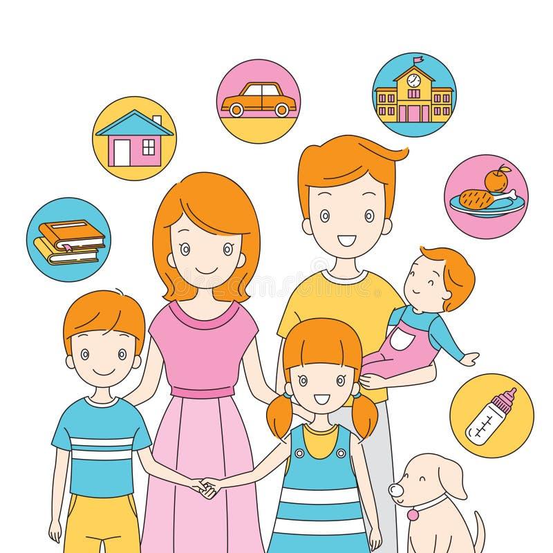 Famiglia che sta insieme alle icone illustrazione di stock