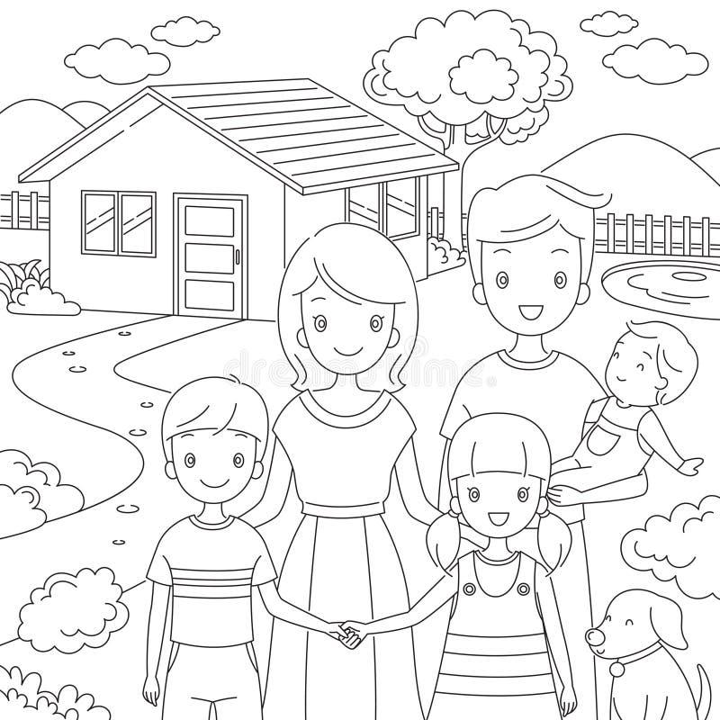 Famiglia che sta stile di Front Their Home In Doodle illustrazione di stock