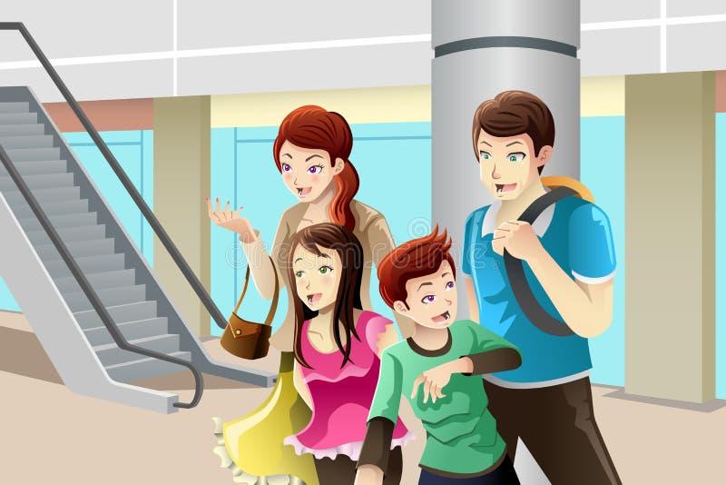 Famiglia che va alla compera royalty illustrazione gratis