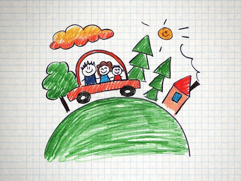 Famiglia che viaggia in automobile illustrazione vettoriale