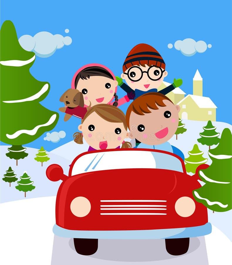 Famiglia che viaggia sulla vacanza di inverno illustrazione vettoriale