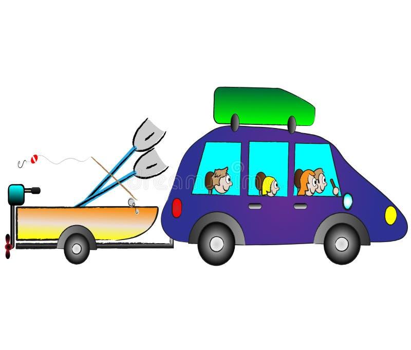 Famiglia che viaggia in vacanza in macchina divertente illustrazione di stock