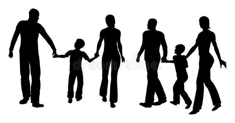 Famiglia con camminare del figlio royalty illustrazione gratis