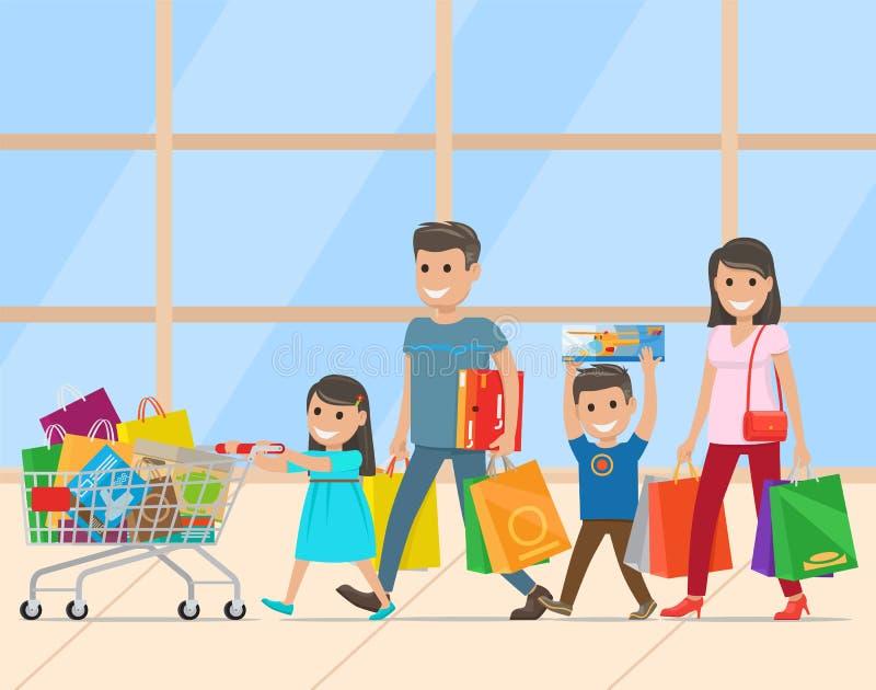 Famiglia con due bambini che fanno vettore degli acquisti illustrazione vettoriale
