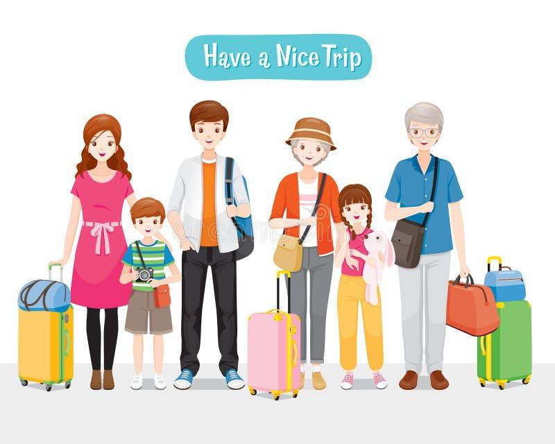 Famiglia con i bagagli che corrispondono insieme al viaggio illustrazione vettoriale
