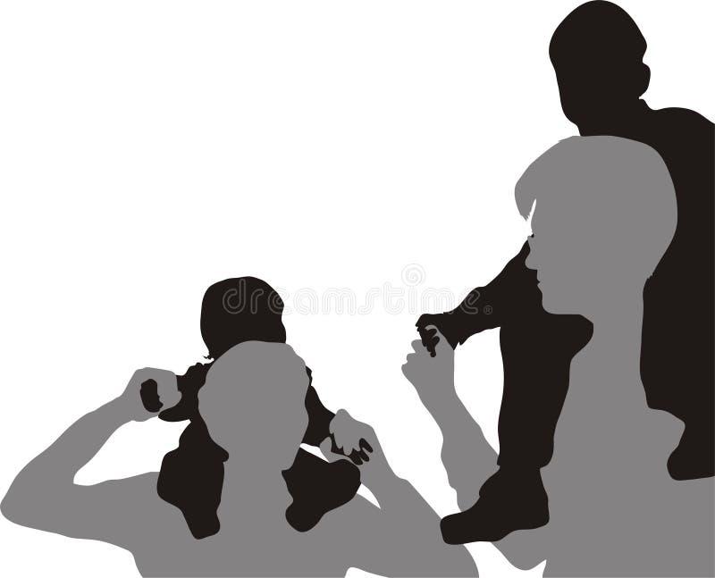 Famiglia con i bambini   royalty illustrazione gratis