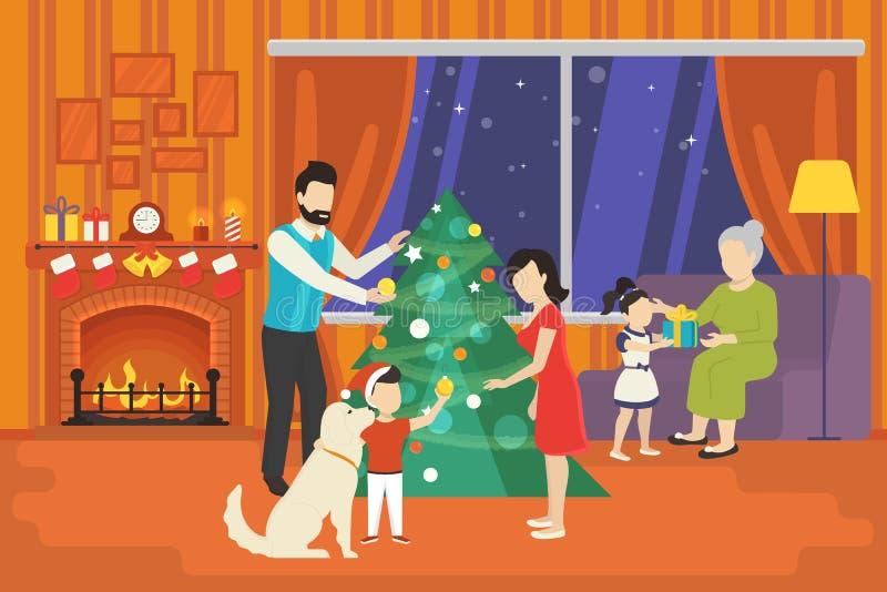 Famiglia con i bambini che celebrano concetto di festa di natale royalty illustrazione gratis
