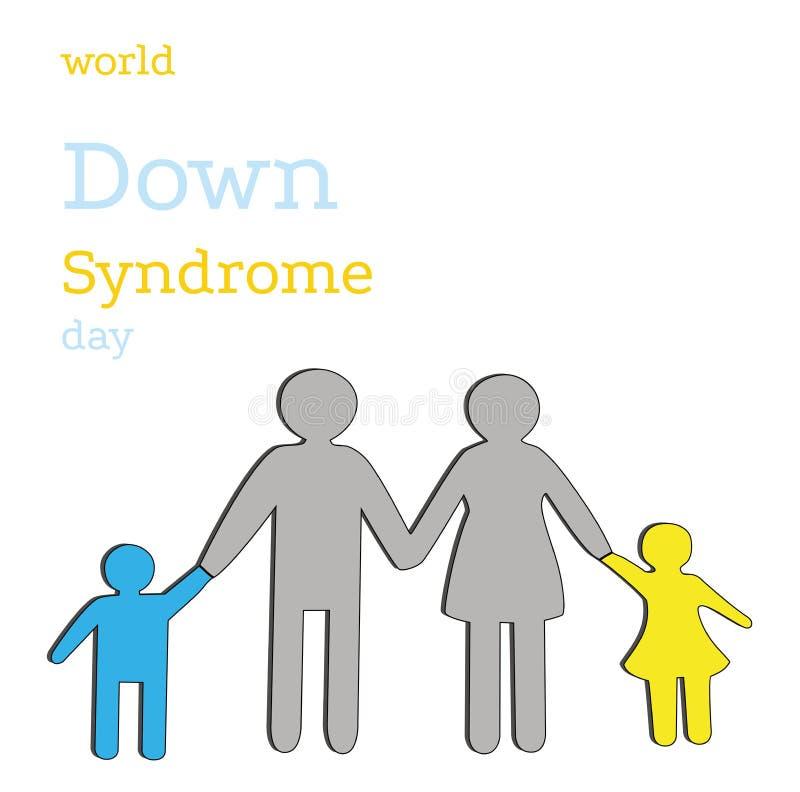 Famiglia con i bambini il colore di sindrome di Down Giorno di sindrome di Down del mondo Illustrazione di vettore illustrazione di stock