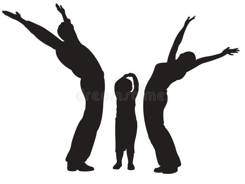 Famiglia con il bambino, mani in su. royalty illustrazione gratis