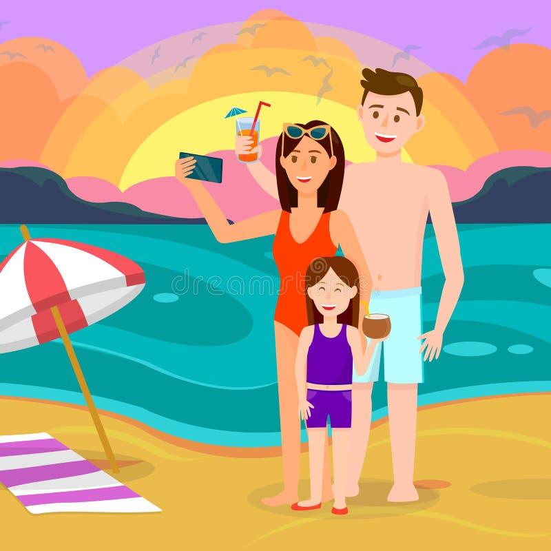 Famiglia con il bambino sul fondo della spiaggia di tramonto illustrazione di stock