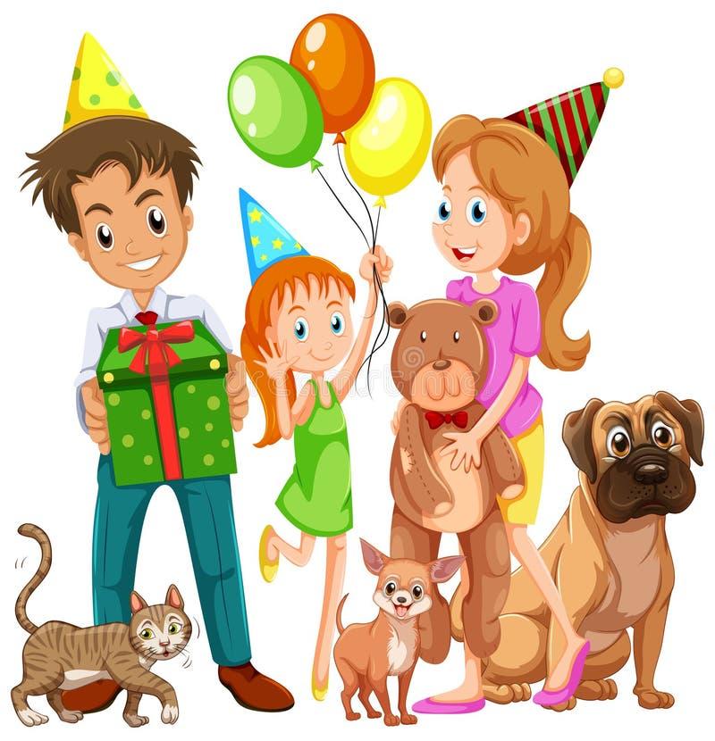 Famiglia con il derivato e molti animali domestici illustrazione vettoriale