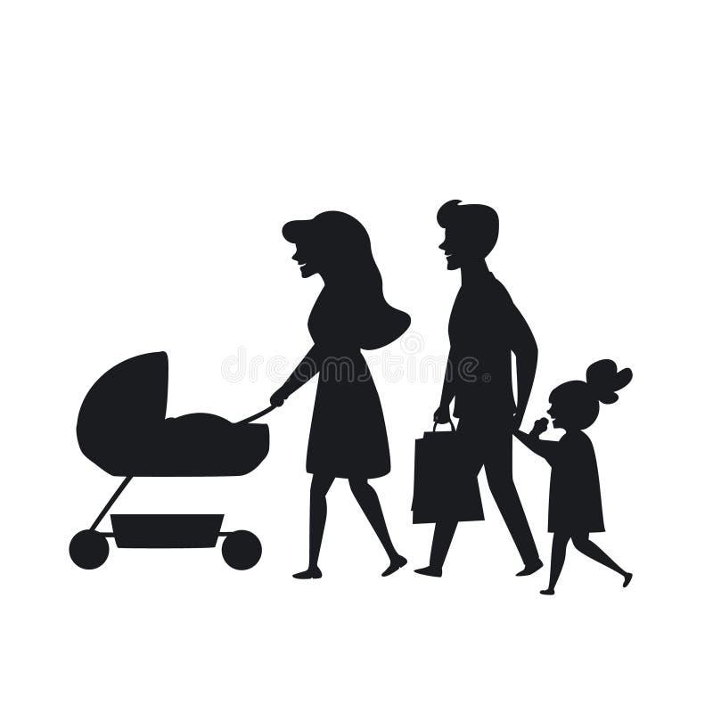Famiglia con l'illustrazione di camminata di vettore della siluetta dei bambini illustrazione vettoriale