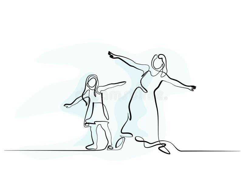 Famiglia con la madre e la ragazza in mosca royalty illustrazione gratis