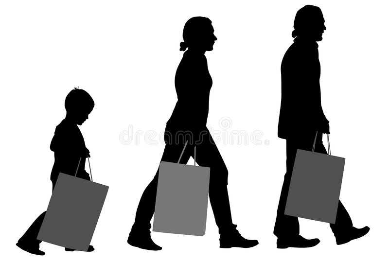 Famiglia con la siluetta dei sacchetti illustrazione di stock