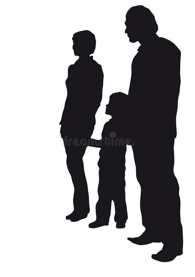 Famiglia con la siluetta del figlio illustrazione vettoriale