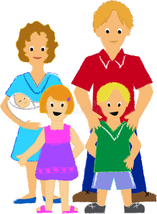 Famiglia con tre Kids/ai royalty illustrazione gratis