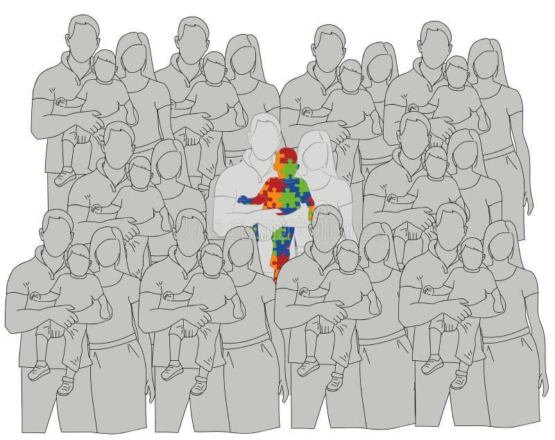 Famiglia con un bambino autistico confrontato ad altre famiglie Giorno di autismo del mondo Illustrazione di vettore illustrazione di stock