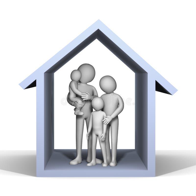 famiglia 3d in casa illustrazione vettoriale