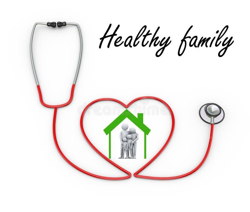famiglia 3d nel simbolo della casa dello stetoscopio royalty illustrazione gratis