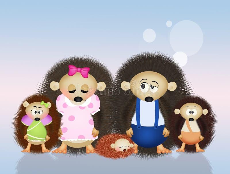 Famiglia degli istrici illustrazione di stock