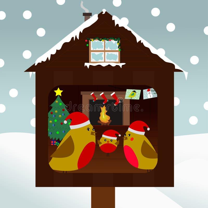Famiglia degli uccelli che celebrano natale illustrazione di stock