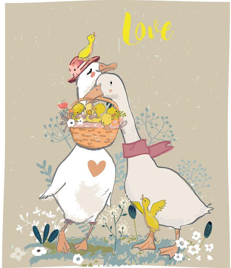 Famiglia degli uccelli svegli dell'azienda agricola royalty illustrazione gratis
