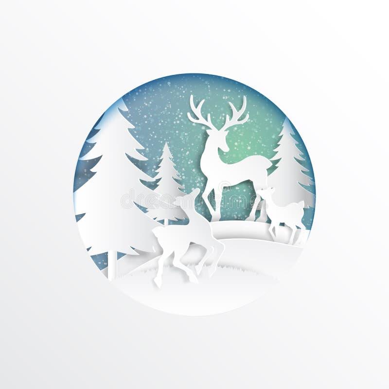 Famiglia dei cervi allegra su neve e sul fondo di stagione invernale Per il Buon Natale e lo stile di carta di arte del buon anno illustrazione vettoriale