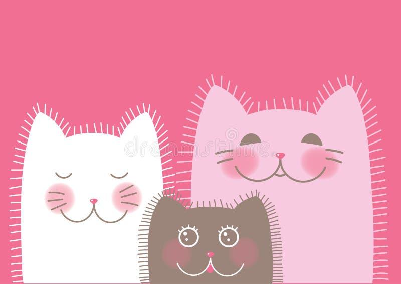 Famiglia dei gatti divertenti svegli fotografia stock libera da diritti