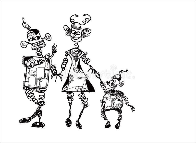 Famiglia dei robot royalty illustrazione gratis
