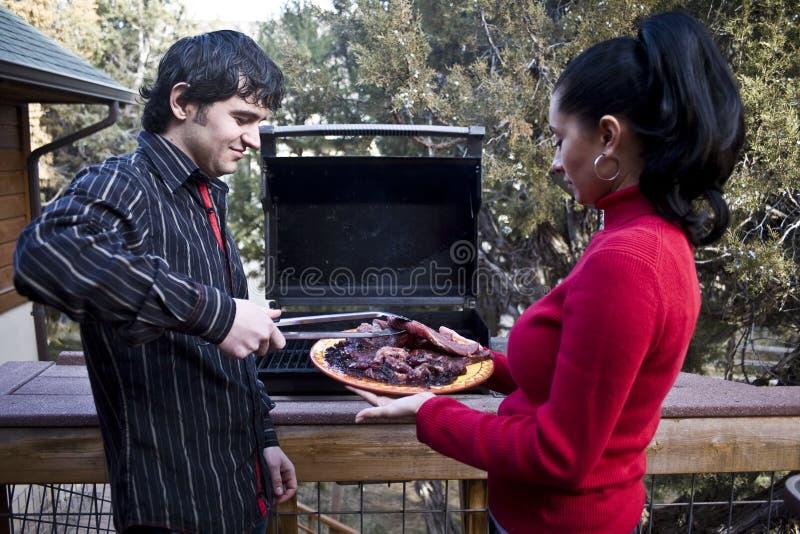famiglia del barbecue fotografia stock