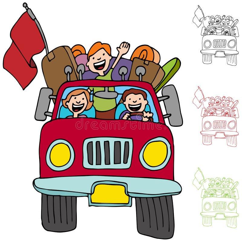 Famiglia del camioncino scoperto di viaggio stradale illustrazione vettoriale