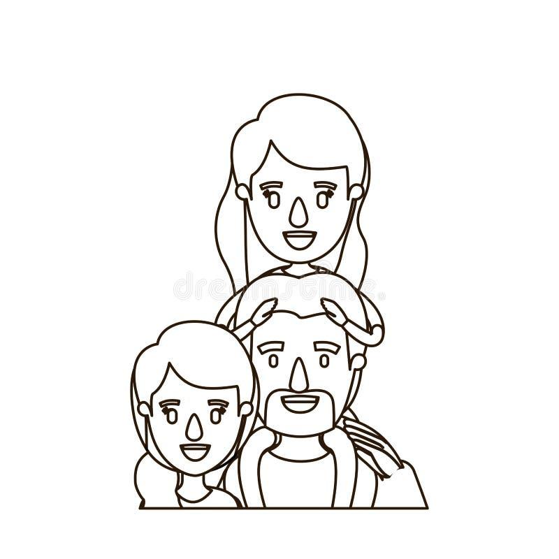 Famiglia del corpo di metà di caricatura di contorno di schizzo con la madre ed il padre con i baffi e ragazza sul suo indietro illustrazione vettoriale