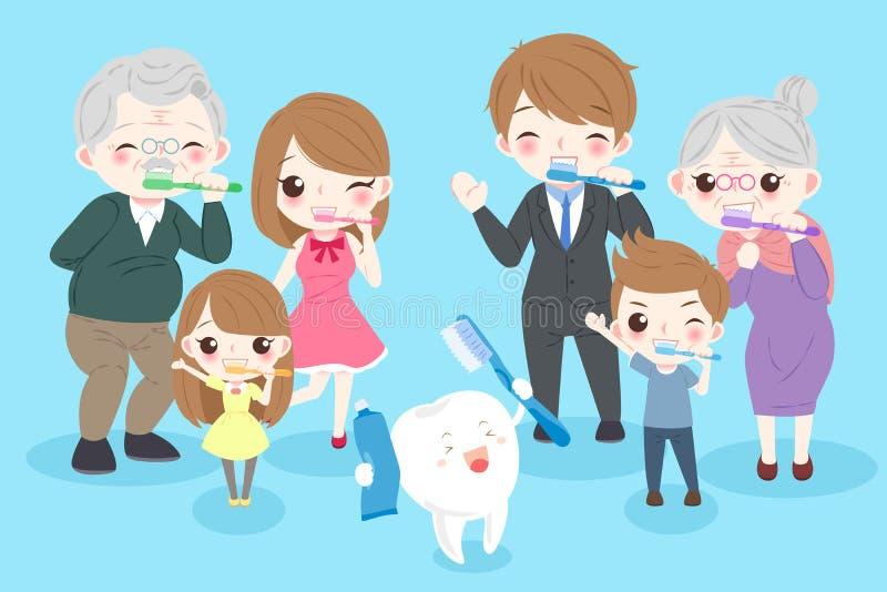 Famiglia del fumetto con il dente illustrazione di stock