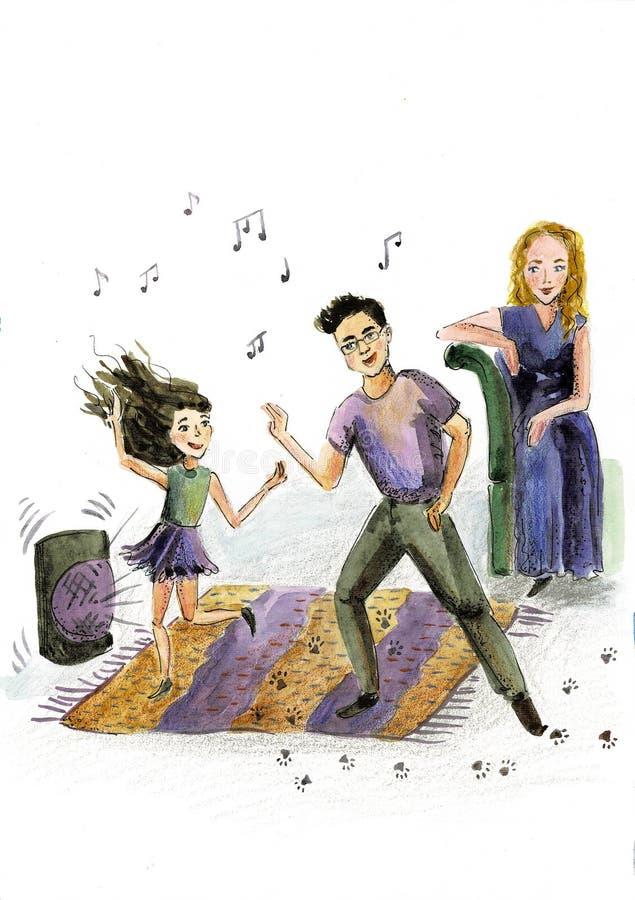 Famiglia del fumetto di divertimento in vestiti alla moda variopinti Padre, madre e bambini, daincing tutti insieme una famiglia illustrazione di stock