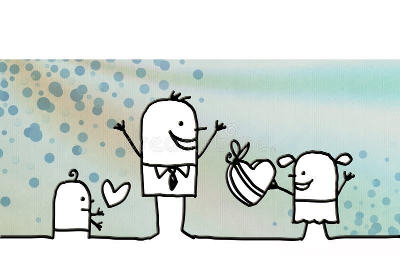 Famiglia del fumetto e giorno del ` s del padre royalty illustrazione gratis