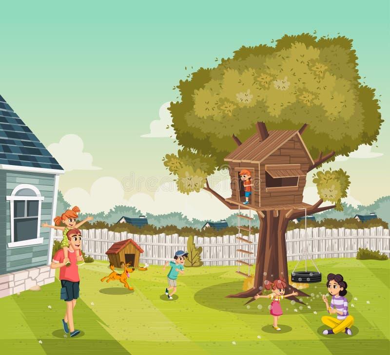 Famiglia del fumetto sul cortile di una casa variopinta nella vicinanza del sobborgo Casa sull'albero sul cortile immagini stock