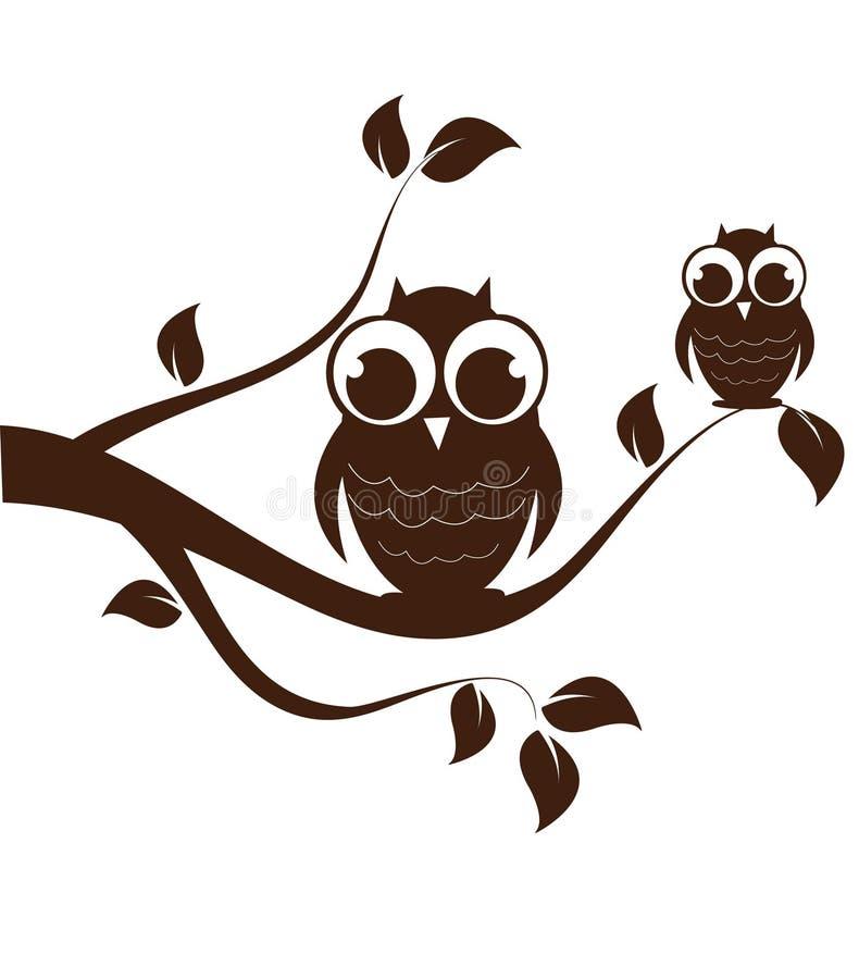 Famiglia del gufo swirly sull'albero illustrazione di stock