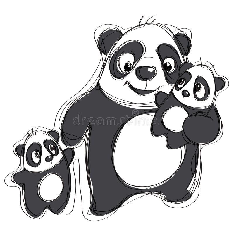 Famiglia del panda del fumetto in uno stile puerile ingenuo del disegno royalty illustrazione gratis