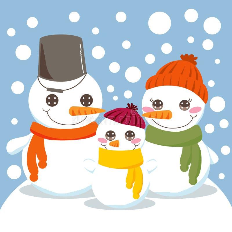 Famiglia del pupazzo di neve illustrazione vettoriale