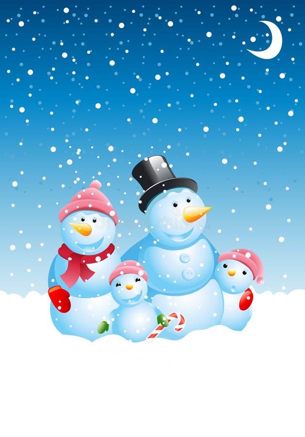 Famiglia del pupazzo di neve di natale royalty illustrazione gratis