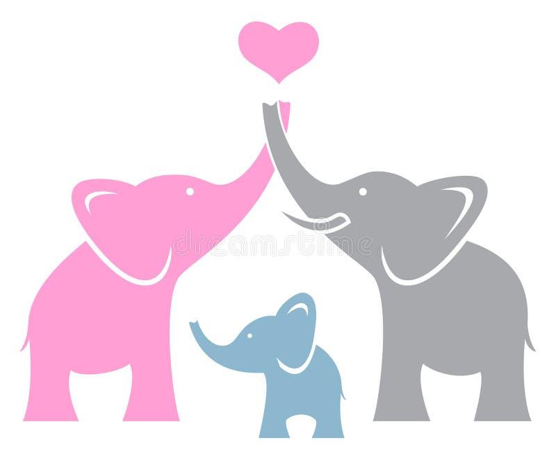 Famiglia dell'elefante royalty illustrazione gratis