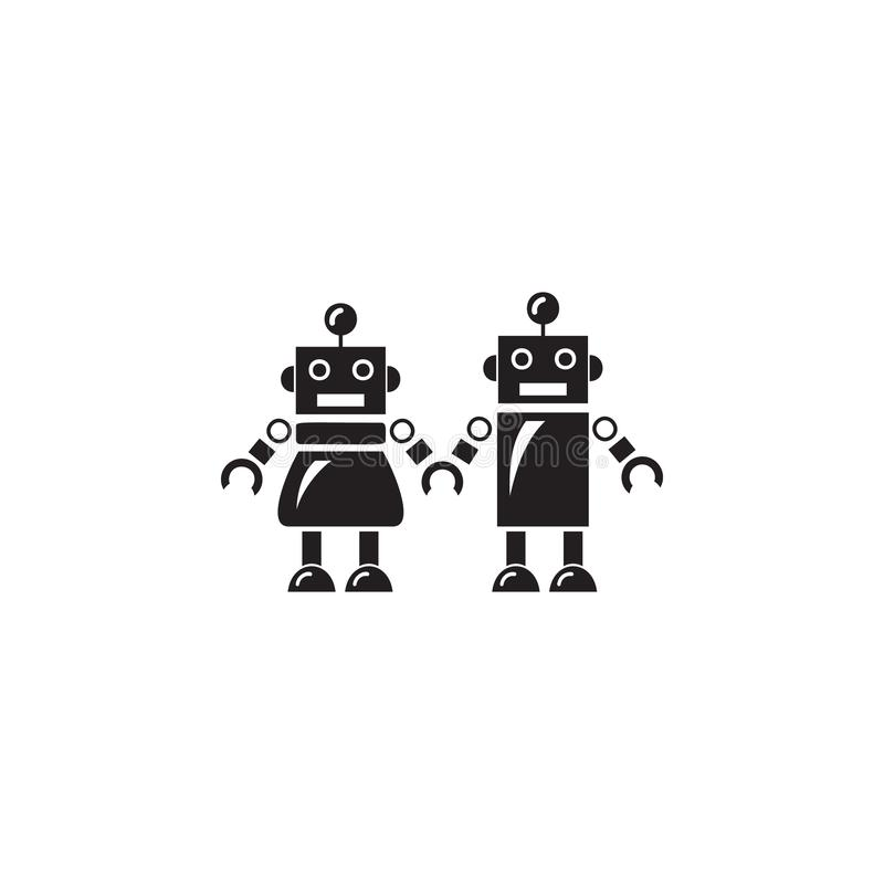 famiglia dell'icona dei robot Elemento dei robot per i cartelloni pubblicitari, il concetto mobile e i apps di web Icona per prog royalty illustrazione gratis